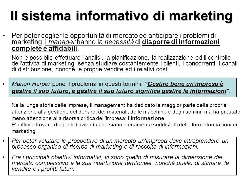 Il sistema informativo di marketing Per poter coglier le opportunità di mercato ed anticipare i problemi di marketing, i manager hanno la necessità di