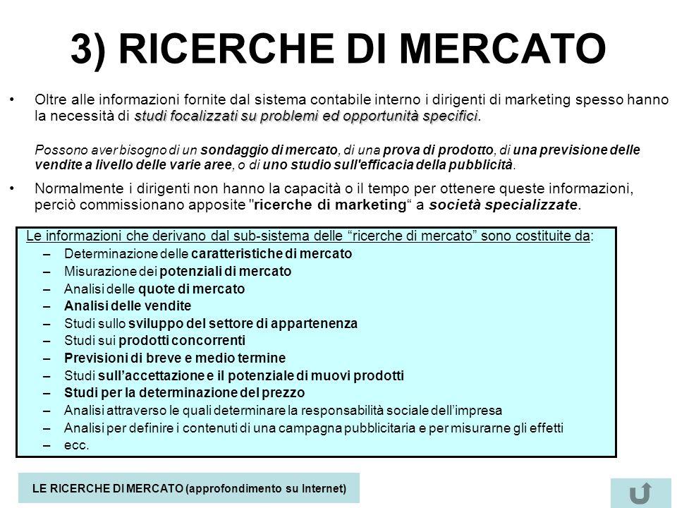 3) RICERCHE DI MERCATO studi focalizzati su problemi ed opportunità specificiOltre alle informazioni fornite dal sistema contabile interno i dirigenti