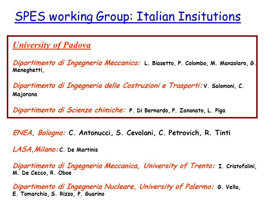 University of Padova Dipartimento di Ingegneria Meccanica: L. Biasetto, P. Colombo, M. Manzolaro, G. Meneghetti, Dipartimento di Ingegneria delle Cost