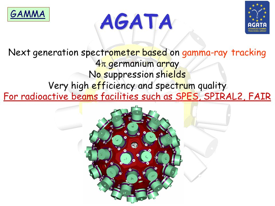 AGATA GAMMA Next generation spectrometer based on gamma-ray tracking 4  germanium array No suppression shields Very high efficiency and spectrum quality For radioactive beams facilities such as SPES, SPIRAL2, FAIR