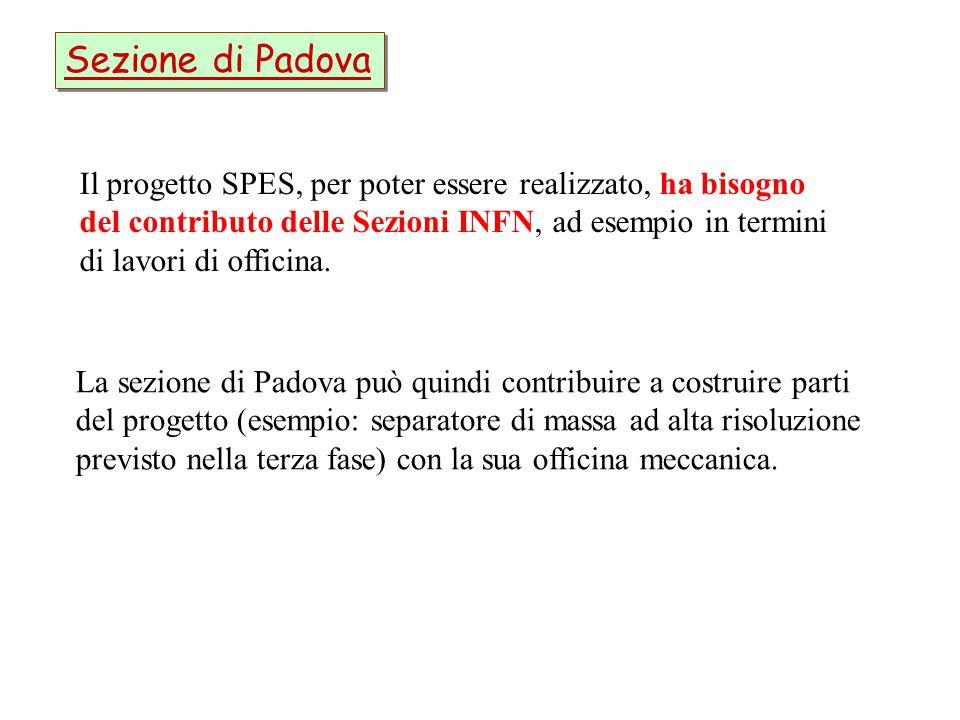 Sezione di Padova Il progetto SPES, per poter essere realizzato, ha bisogno del contributo delle Sezioni INFN, ad esempio in termini di lavori di offi