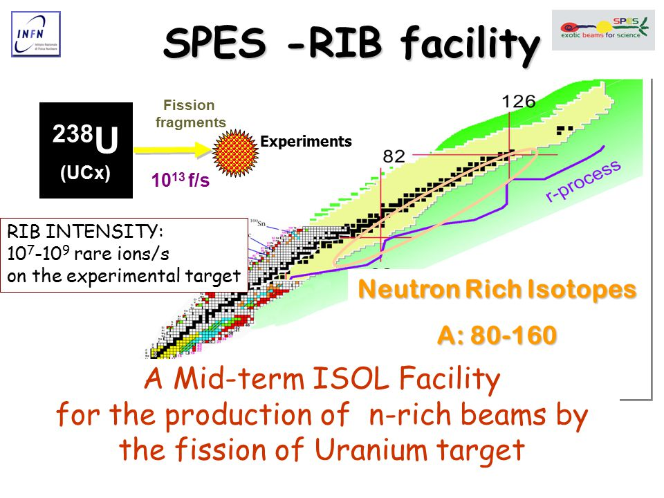 Primary beamPower on target target Fission s-1 Reacceler atorAMeVA=130,20+ 132 Sn rate ISOLDE p 1-1.4 GeV - 2  A 0.4 KW Direct4·10 12 Linac 3 10 7 HRIBF p 40 MeV 10  A 0.4 KW Direct4·10 11 Tandem 25MV 4 2·10 5 SPIRAL C-Kr 95 AMeV6 KW Direct Cyclotron TRIUMF p 450 MeV 70  A 17 KW Direct SC Linac CRC UCL p 30 MeV 300  A 9 KW Direct Cyclotron EXCYT 13C 45 AMeV0.5 KW Direct Tandem 15MV A review of the ISOL facilities in the world HIE ISOLDE upgrade Direct4·10 12 SC Linac 5-10 2·10 8 HRIBF up-grade p 54 MeV 20  A 1.8KW Direct10 12 Tandem 25MV 4 5·10 5 SPIRAL2 d 40 MeV 5mA200 KW Convert.10 14 Cyclotron 6 2·10 9 SPES p 40 MeV 200  A 8 KW Direct10 13 SC Linac 10 3·10 8
