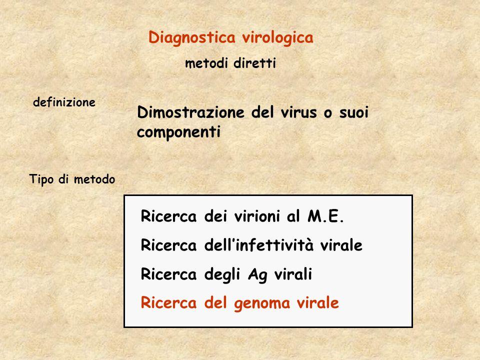 Ricerca dei virioni al M.E. Ricerca dell'infettività virale Ricerca degli Ag virali Ricerca del genoma virale Tipo di metodo Diagnostica virologica me