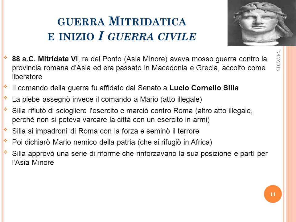 GUERRA M ITRIDATICA E INIZIO I GUERRA CIVILE  88 a.C.