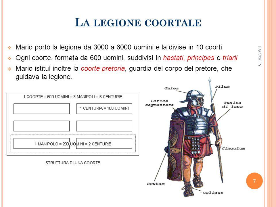 I C IMBRI E I T EUTONI  Mario aveva appena risolto i problemi con la Numidia, quando nella Gallia meridionale un esercito fu distrutto da Cimbri e Teutoni, tribù germaniche  Ritornava l'incubo dell invasione gallica  L incarico di affrontare Cimbri e Teutoni fu affidato a Mario, di nuovo eletto console (per ben cinque volte di seguito, cosa senza precedenti nella storia di Roma)  Mario sconfisse i nemici ad Aquae Sextiae nel 102 e ai Campi Raudii presso Vercelli nel 101 a.C.