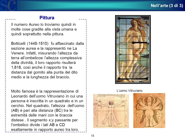 15 Il numero Aureo lo troviamo quindi in molte cose gradite alla vista umana e quindi soprattutto nella pittura. Botticelli (1445-1510) fu affascinato