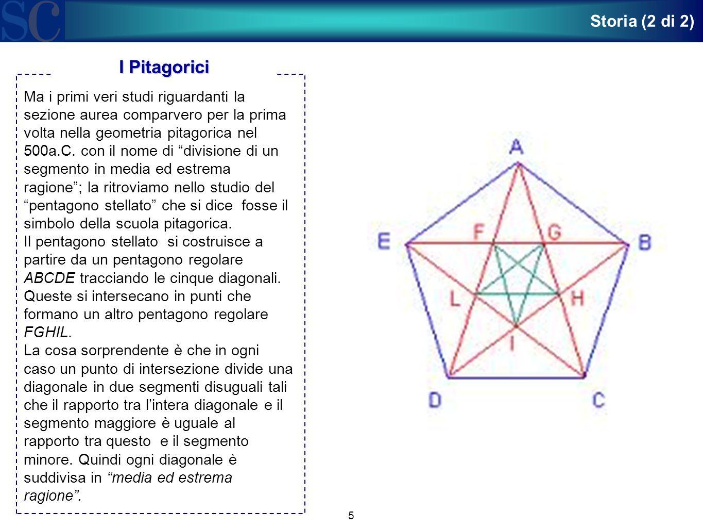 """5 Ma i primi veri studi riguardanti la sezione aurea comparvero per la prima volta nella geometria pitagorica nel 500a.C. con il nome di """"divisione di"""