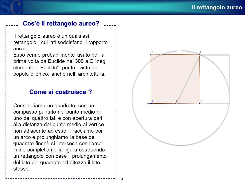 6 Il rettangolo aureo è un qualsiasi rettangolo I cui lati soddisfano il rapporto aureo. Esso venne probabilmente usato per la prima volta da Euclide