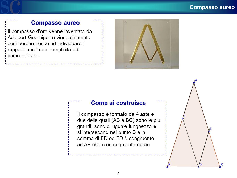 9 Il compasso d'oro venne inventato da Adalbert Goerniger e viene chiamato così perchè riesce ad individuare i rapporti aurei con semplicità ed immedi
