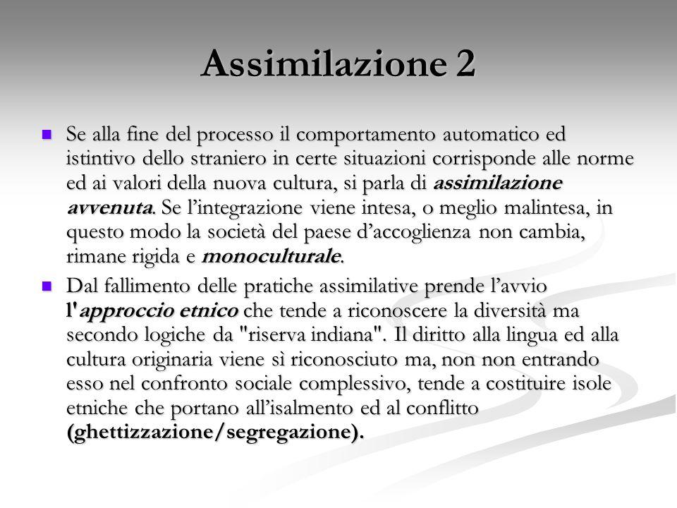 Assimilazione 2 Se alla fine del processo il comportamento automatico ed istintivo dello straniero in certe situazioni corrisponde alle norme ed ai va