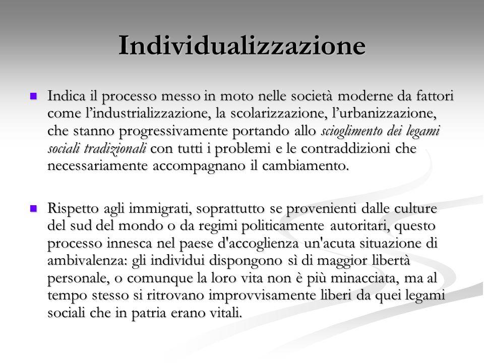 Individualizzazione Indica il processo messo in moto nelle società moderne da fattori come l'industrializzazione, la scolarizzazione, l'urbanizzazione