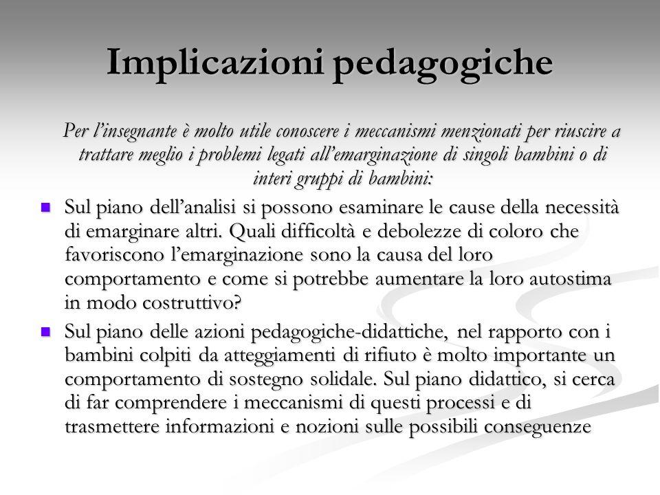 Implicazioni pedagogiche Per l'insegnante è molto utile conoscere i meccanismi menzionati per riuscire a trattare meglio i problemi legati all'emargin