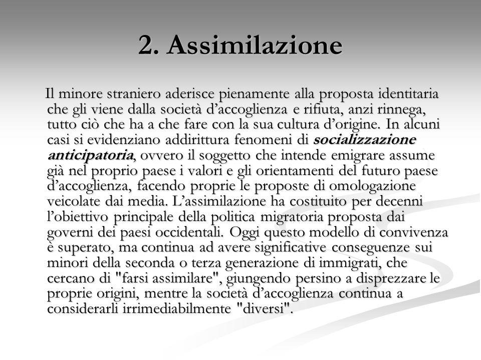 2. Assimilazione Il minore straniero aderisce pienamente alla proposta identitaria che gli viene dalla società d'accoglienza e rifiuta, anzi rinnega,