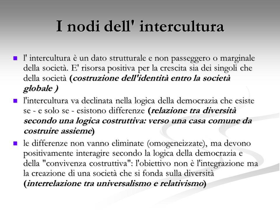 I nodi dell' intercultura l' intercultura è un dato strutturale e non passeggero o marginale della società. E' risorsa positiva per la crescita sia de