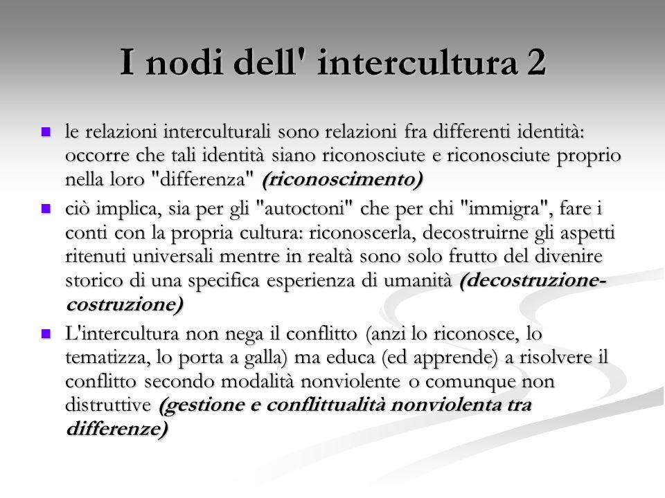 I nodi dell' intercultura 2 le relazioni interculturali sono relazioni fra differenti identità: occorre che tali identità siano riconosciute e riconos