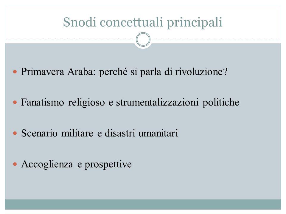 Snodi concettuali principali Primavera Araba: perché si parla di rivoluzione? Fanatismo religioso e strumentalizzazioni politiche Scenario militare e
