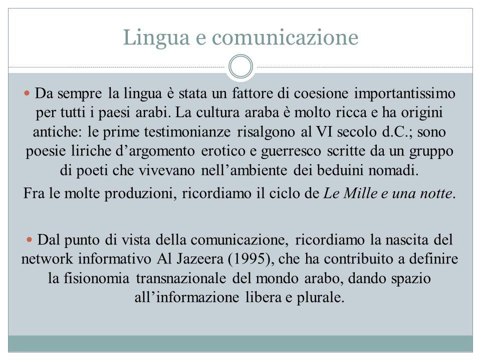 Lingua e comunicazione Da sempre la lingua è stata un fattore di coesione importantissimo per tutti i paesi arabi. La cultura araba è molto ricca e ha