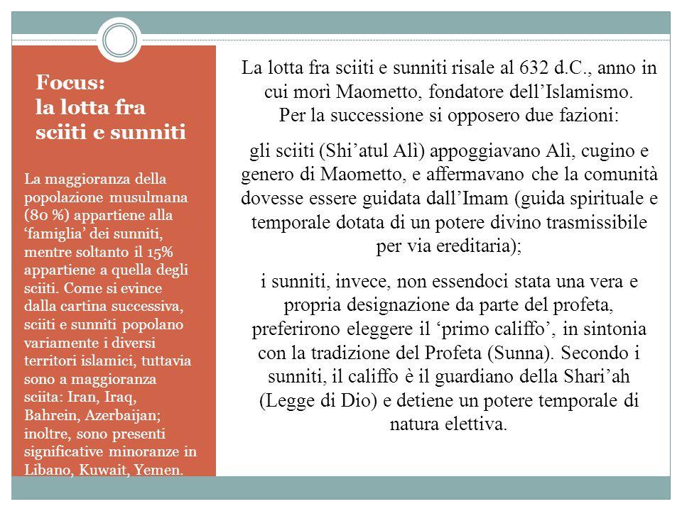 Focus: la lotta fra sciiti e sunniti La maggioranza della popolazione musulmana (80 %) appartiene alla 'famiglia' dei sunniti, mentre soltanto il 15%