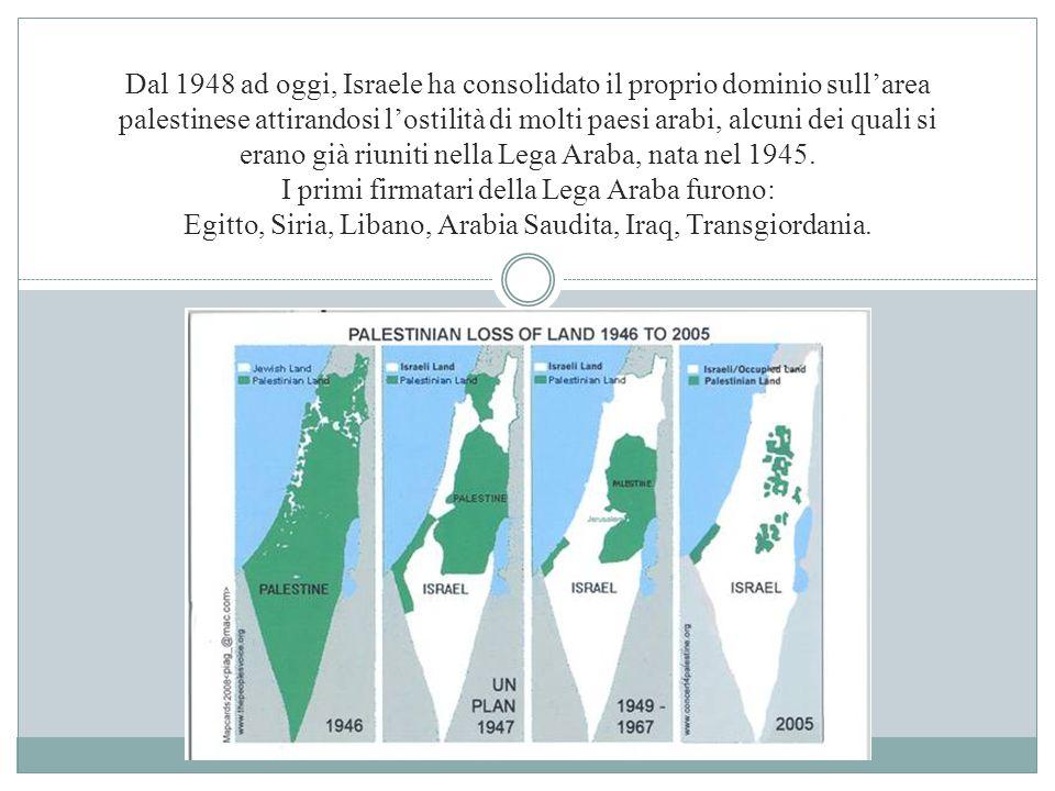 Dal 1948 ad oggi, Israele ha consolidato il proprio dominio sull'area palestinese attirandosi l'ostilità di molti paesi arabi, alcuni dei quali si era