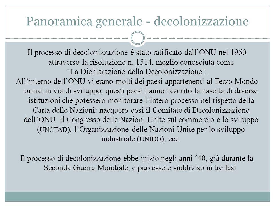 Panoramica generale - decolonizzazione Il processo di decolonizzazione è stato ratificato dall'ONU nel 1960 attraverso la risoluzione n. 1514, meglio