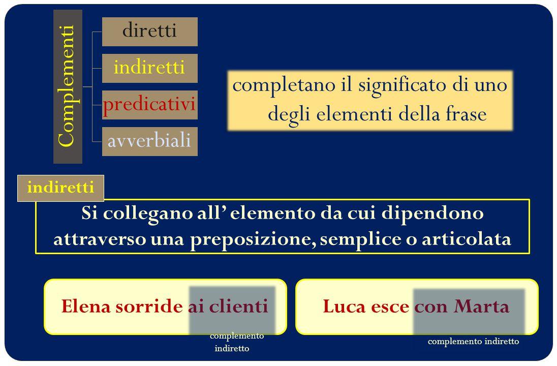 Si collegano all' elemento da cui dipendono attraverso una preposizione, semplice o articolata Complementi diretti indiretti predicativi avverbiali co