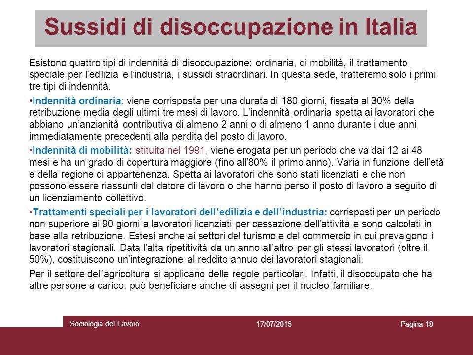 Sussidi di disoccupazione in Italia Esistono quattro tipi di indennità di disoccupazione: ordinaria, di mobilità, il trattamento speciale per l'ediliz