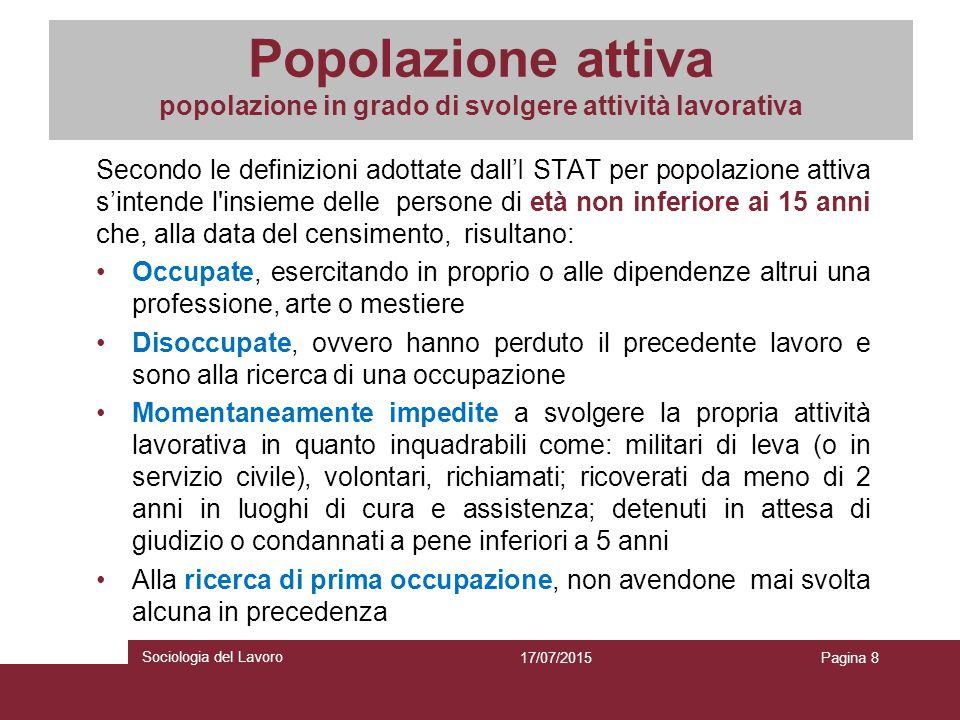 Popolazione attiva popolazione in grado di svolgere attività lavorativa Secondo le definizioni adottate dall'I STAT per popolazione attiva s'intende l