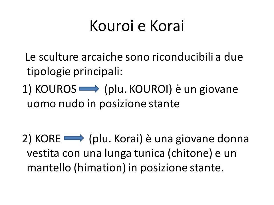 Kouroi e Korai Le sculture arcaiche sono riconducibili a due tipologie principali: 1) KOUROS (plu. KOUROI) è un giovane uomo nudo in posizione stante
