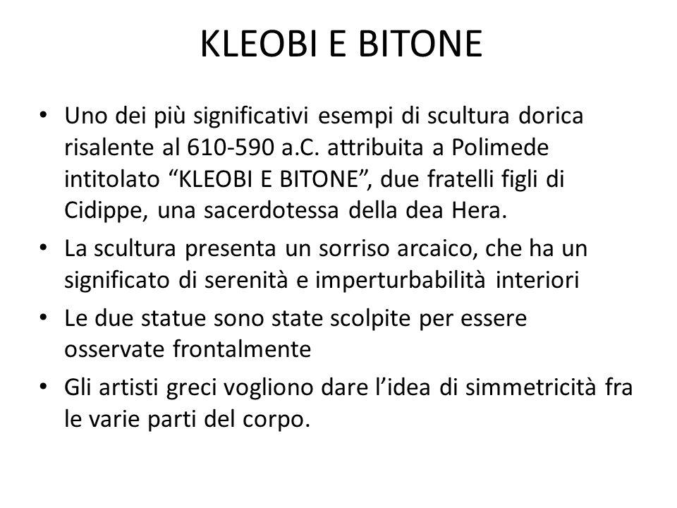 """KLEOBI E BITONE Uno dei più significativi esempi di scultura dorica risalente al 610-590 a.C. attribuita a Polimede intitolato """"KLEOBI E BITONE"""", due"""