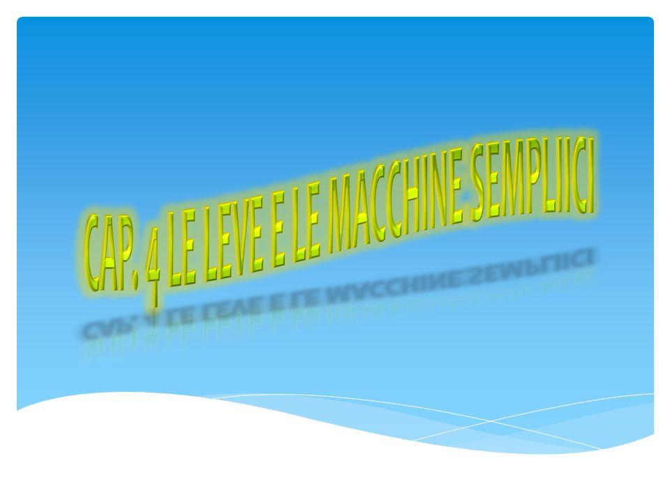 LL e macchine semplici sono macchine che non possono essere scomposte in macchine ancora più elementari SS ono le macchine che erano già disponibili nell'antichità SS i basano sulla sola forza muscolare col principio di amplificazione della forza con espedienti meccanici UU n qualsiasi dispositivo atto a vincere una forza (resistenza) con la sola forza muscolare (potenza) è detta macchina semplice