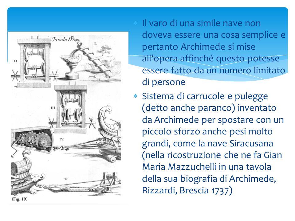 AA d Archimede si deve l'invenzione della vite idraulica UU n esemplare di vite di Archimede costruito con legno di quercia e ritrovato in una miniera romana in Spagna ÈÈ stato calcolato che seguendo le istruzioni di Vitruvio con una coclea si potevano sollevare di 1 metro quasi 200 litri d'acqua al minuto AA ltro esempio di impiego della vite idraulica nell'irrigazione