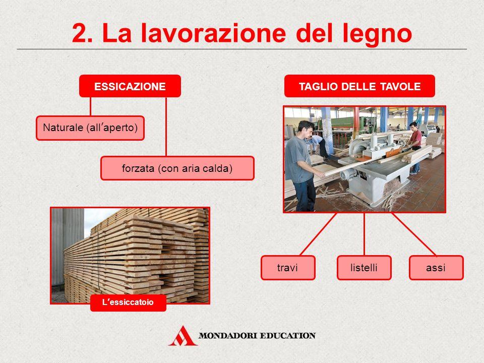 2. La lavorazione del legno STAGIONE LA SEGHERIA ESSICCAZIONE NATURALE O FORZATA TAGLIO IN TAVOLE una segheria vari tipi di taglio