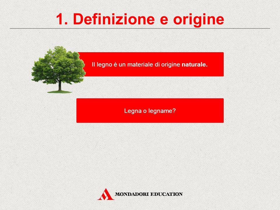 Il legno CONTENUTI 1. Definizione e origine La sezione di un tronco 3. Le proprietà del legno 2. La lavorazione del legno 4. Gli impieghi 5. Il legno