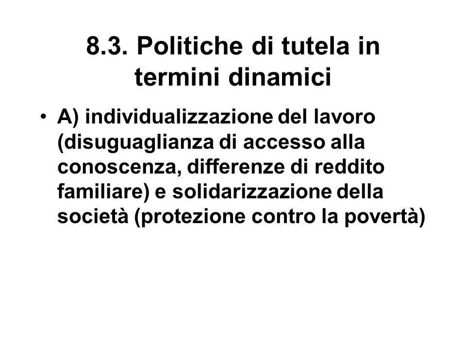 8.3. Politiche di tutela in termini dinamici A) individualizzazione del lavoro (disuguaglianza di accesso alla conoscenza, differenze di reddito famil