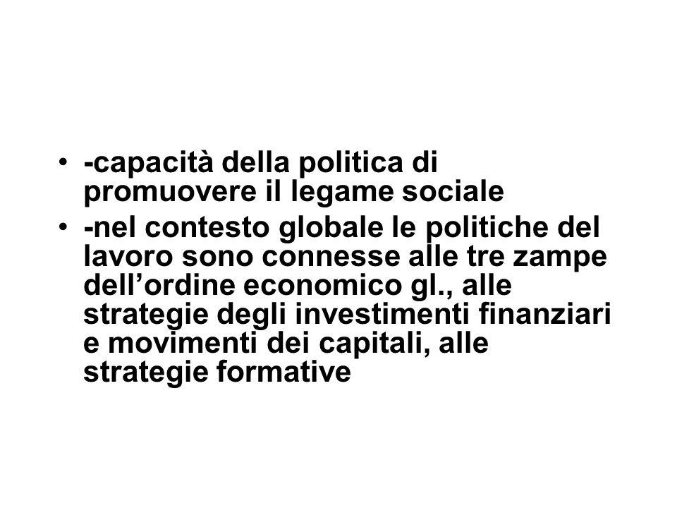 -capacità della politica di promuovere il legame sociale -nel contesto globale le politiche del lavoro sono connesse alle tre zampe dell'ordine economico gl., alle strategie degli investimenti finanziari e movimenti dei capitali, alle strategie formative