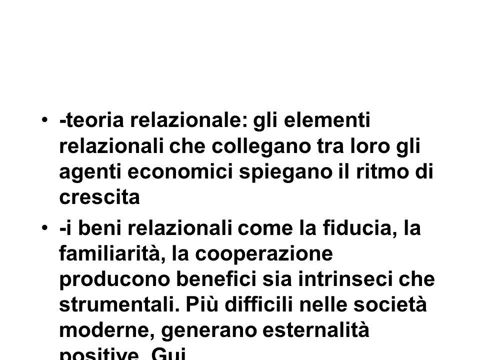-teoria relazionale: gli elementi relazionali che collegano tra loro gli agenti economici spiegano il ritmo di crescita -i beni relazionali come la fiducia, la familiarità, la cooperazione producono benefici sia intrinseci che strumentali.