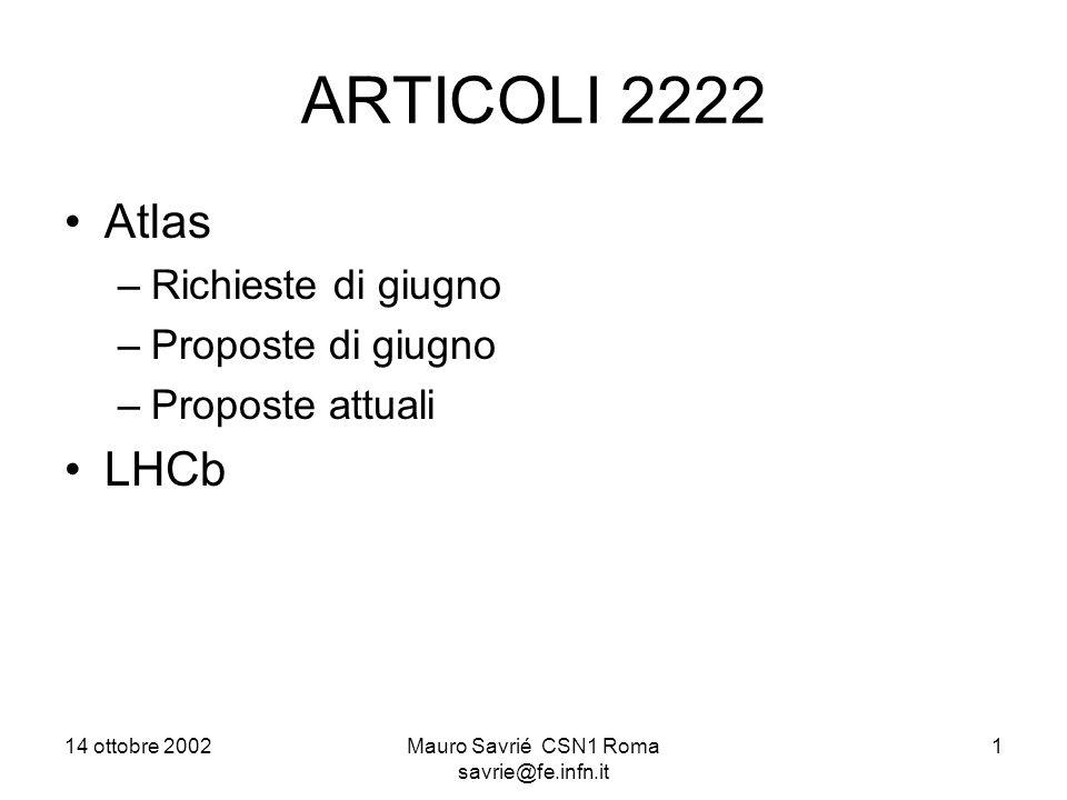 14 ottobre 2002Mauro Savrié CSN1 Roma savrie@fe.infn.it 1 ARTICOLI 2222 Atlas –Richieste di giugno –Proposte di giugno –Proposte attuali LHCb