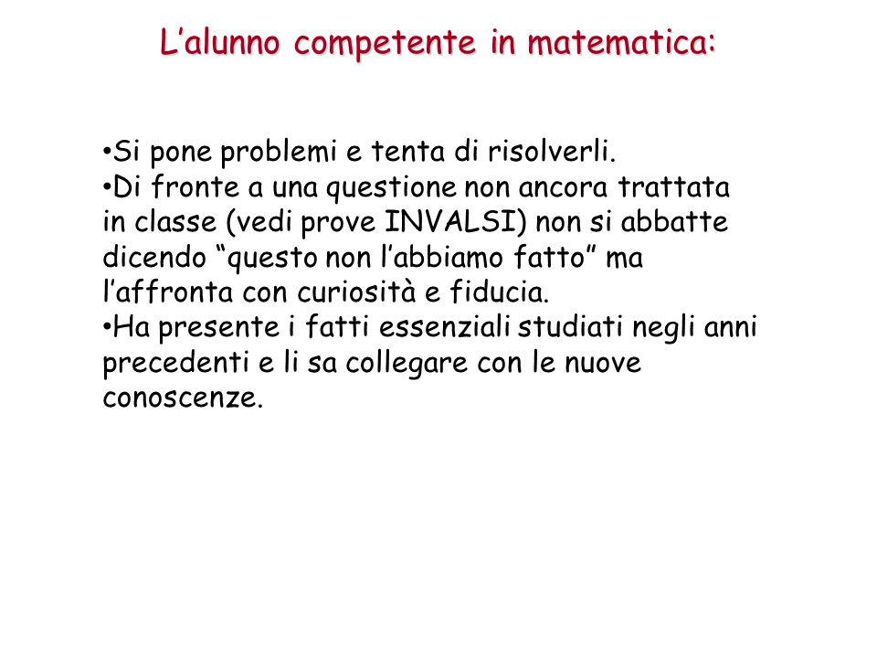 L'alunno competente in matematica: Si pone problemi e tenta di risolverli.