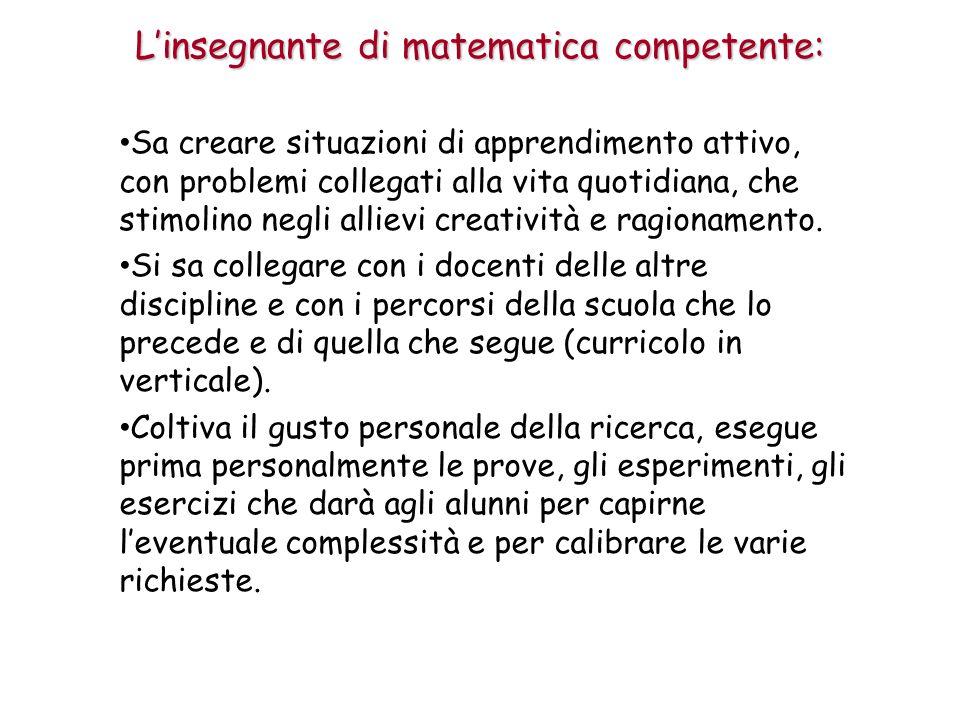 L'insegnante di matematica competente: Sa creare situazioni di apprendimento attivo, con problemi collegati alla vita quotidiana, che stimolino negli allievi creatività e ragionamento.