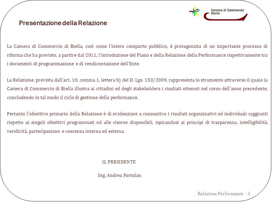 Presentazione della Relazione La Camera di Commercio di Biella, così come l'intero comparto pubblico, è protagonista di un importante processo di riforma che ha previsto, a partire dal 2011, l'introduzione del Piano e della Relazione della Performance rispettivamente tra i documenti di programmazione e di rendicontazione dell'Ente.