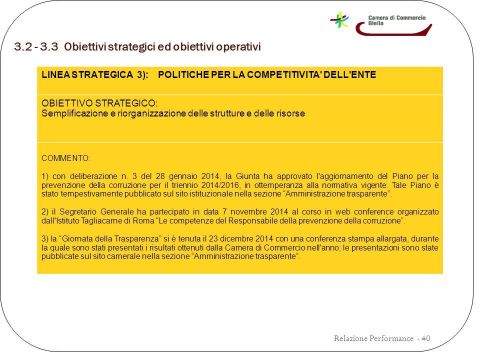 3.2 - 3.3 Obiettivi strategici ed obiettivi operativi Relazione Performance - 40 LINEA STRATEGICA 3): POLITICHE PER LA COMPETITIVITA DELL ENTE OBIETTIVO STRATEGICO: Semplificazione e riorganizzazione delle strutture e delle risorse COMMENTO: 1) con deliberazione n.