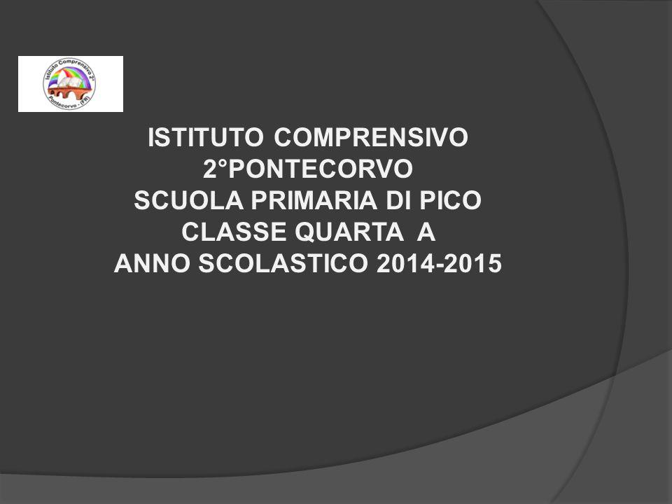 ISTITUTO COMPRENSIVO 2°PONTECORVO SCUOLA PRIMARIA DI PICO CLASSE QUARTA A ANNO SCOLASTICO 2014-2015