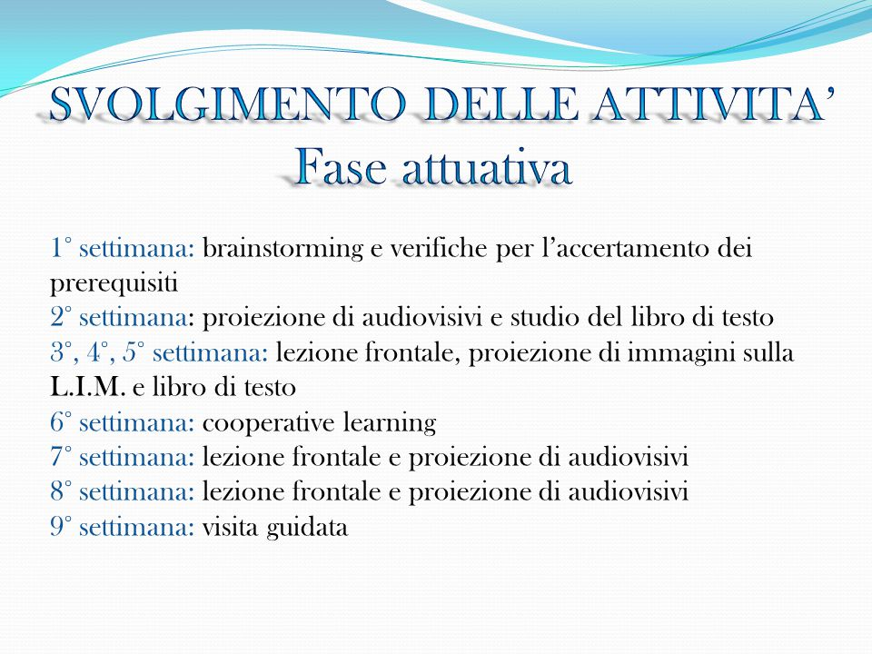 1° settimana: brainstorming e verifiche per l'accertamento dei prerequisiti 2° settimana: proiezione di audiovisivi e studio del libro di testo 3°, 4°