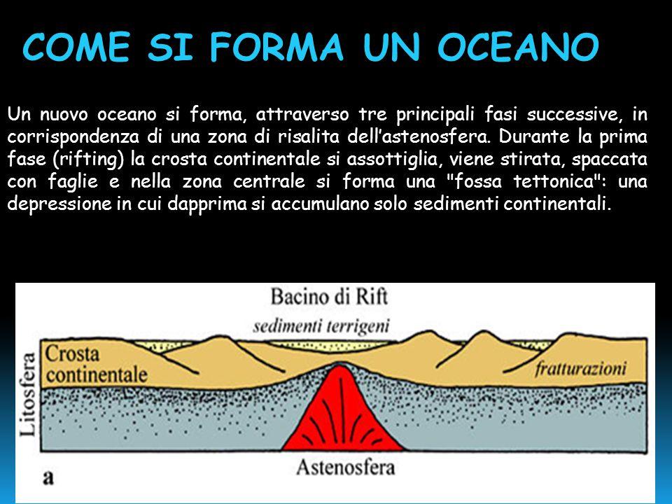 Un nuovo oceano si forma, attraverso tre principali fasi successive, in corrispondenza di una zona di risalita dell'astenosfera. Durante la prima fase
