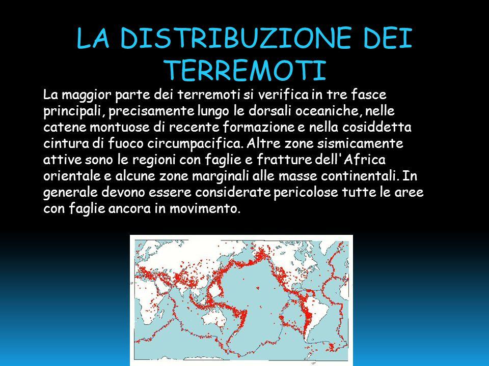 LA DISTRIBUZIONE DEI TERREMOTI La maggior parte dei terremoti si verifica in tre fasce principali, precisamente lungo le dorsali oceaniche, nelle cate