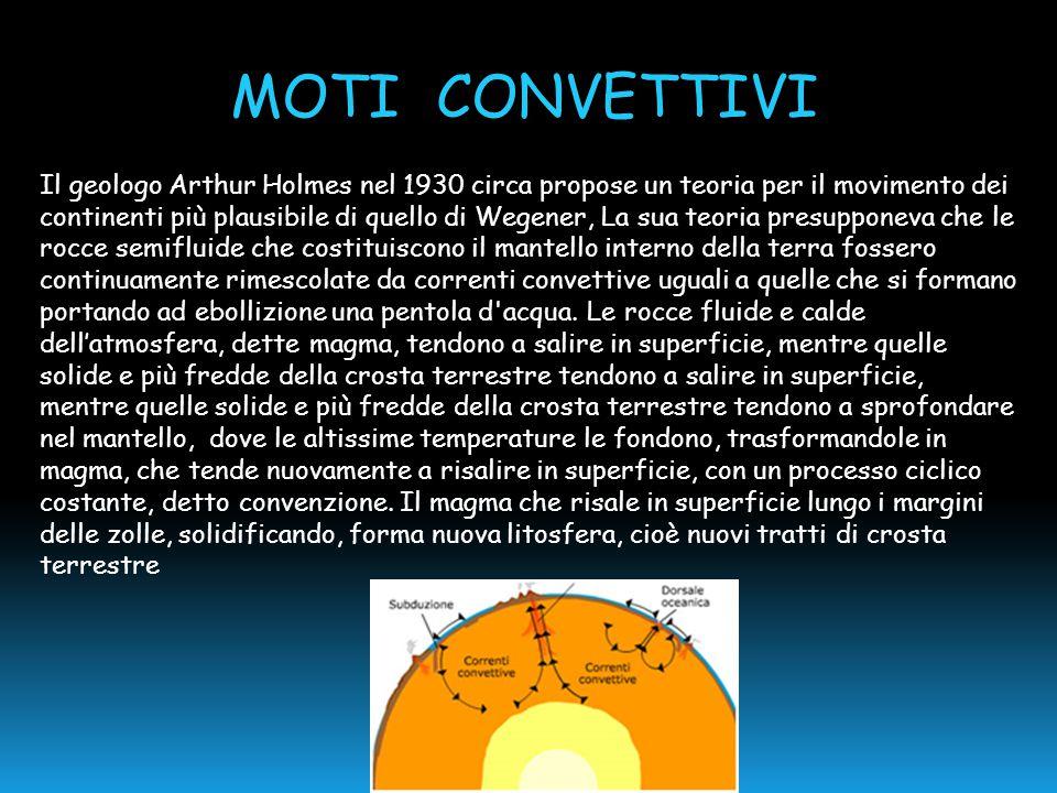 Il geologo Arthur Holmes nel 1930 circa propose un teoria per il movimento dei continenti più plausibile di quello di Wegener, La sua teoria presuppon