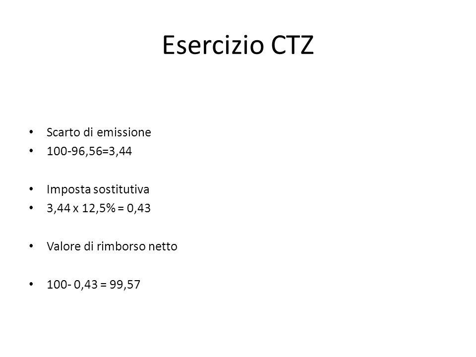Esercizio CTZ Scarto di emissione 100-96,56=3,44 Imposta sostitutiva 3,44 x 12,5% = 0,43 Valore di rimborso netto 100- 0,43 = 99,57