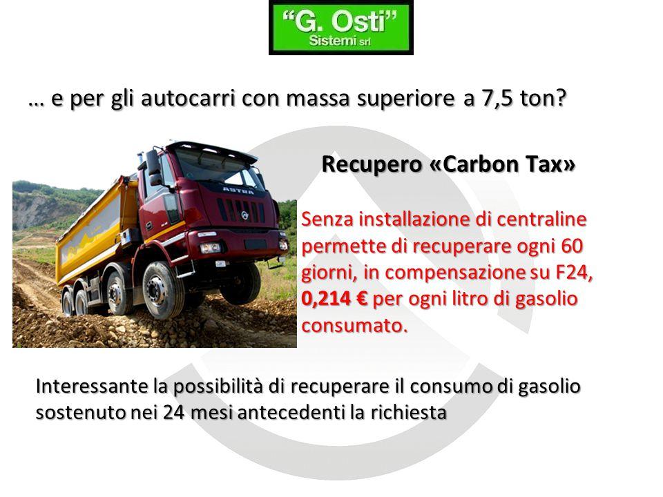 … e per gli autocarri con massa superiore a 7,5 ton? Recupero «Carbon Tax» Senza installazione di centraline permette di recuperare ogni 60 giorni, in