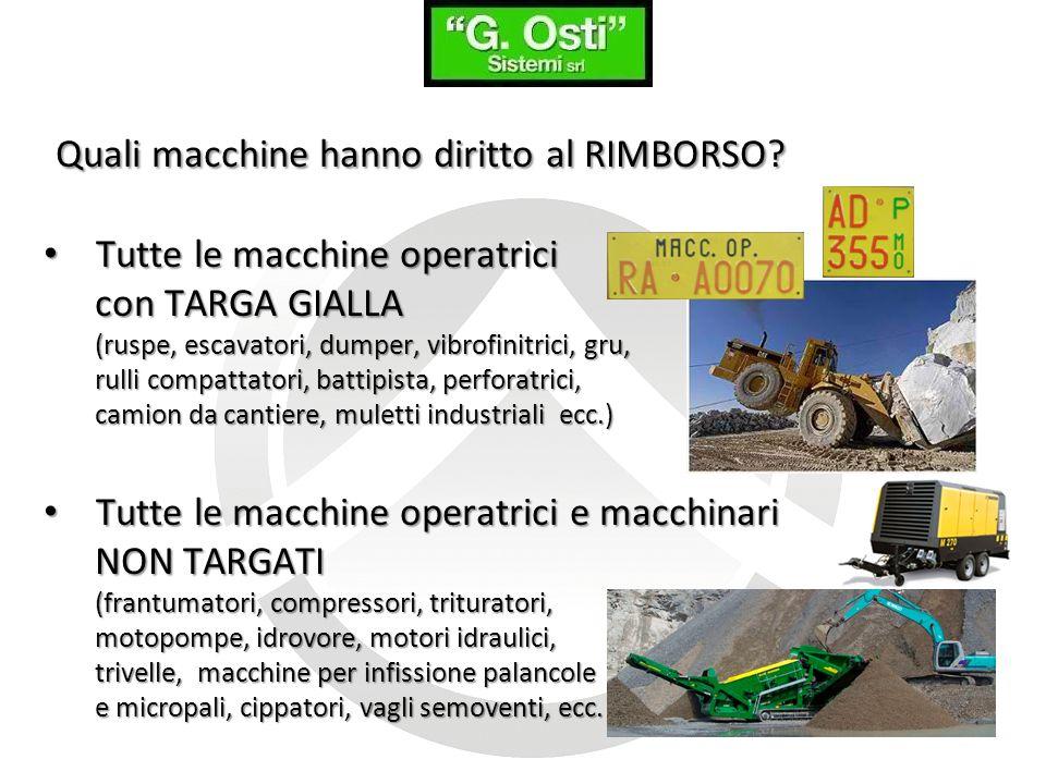 Quali macchine hanno diritto al RIMBORSO? Tutte le macchine operatrici Tutte le macchine operatrici con TARGA GIALLA (ruspe, escavatori, dumper, vibro