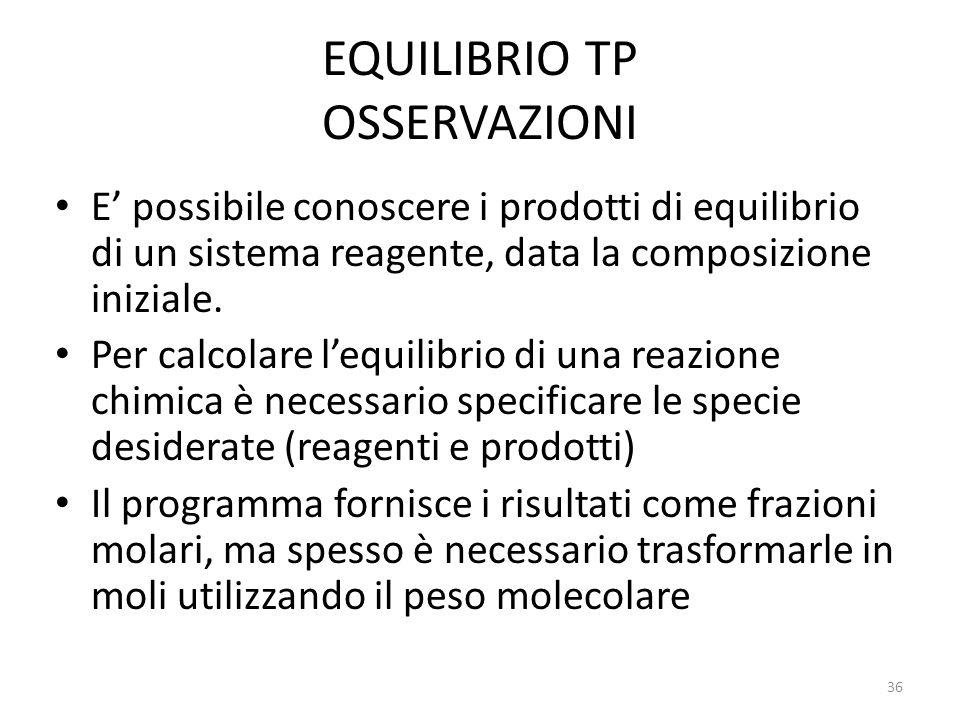 EQUILIBRIO TP OSSERVAZIONI E' possibile conoscere i prodotti di equilibrio di un sistema reagente, data la composizione iniziale. Per calcolare l'equi